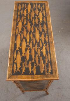 English 19th Century D coupaged Bamboo Bookcase - 1099552