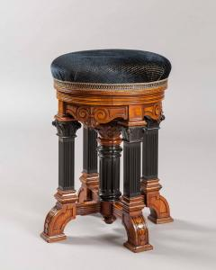 English 19th Century Walnut and Ebony Swivel Stool - 677048