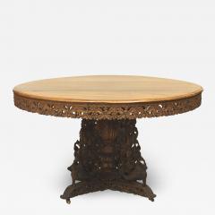 English Anglo Indian Teak and Padauk Center Table - 1428302