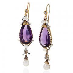 English Antique Amethyst Pearl Diamond Enamel and Gold Earrings - 256324