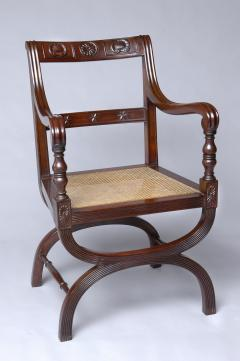 English Antique Carved Mahogany X Frame Armchair Circa 1880 - 777364