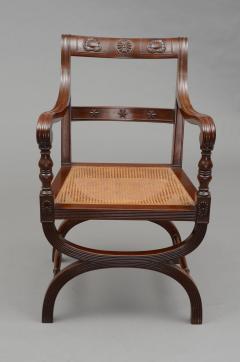 English Antique Carved Mahogany X Frame Armchair Circa 1880 - 777367