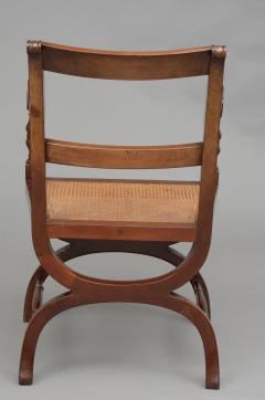 English Antique Carved Mahogany X Frame Armchair Circa 1880 - 777373