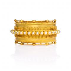 English Antique Gold and Half Pearl Bangle - 148283