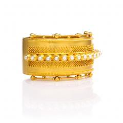 English Antique Gold and Half Pearl Bangle - 148284