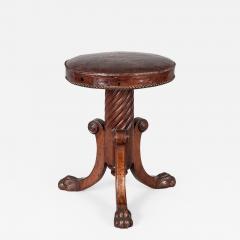English Antique Regency Revolving Piano Stool - 1248646