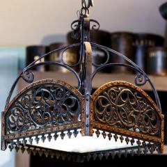 English Arts Crafts Chandelier of Hammered Iron Copper and Glass - 1795505