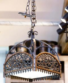 English Arts Crafts Chandelier of Hammered Iron Copper and Glass - 1795506