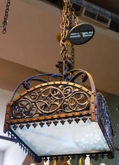 English Arts Crafts Chandelier of Hammered Iron Copper and Glass - 1795507