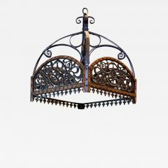 English Arts Crafts Chandelier of Hammered Iron Copper and Glass - 1797597