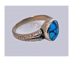 English Arts Crafts Gold Turquoise Ring Birmingham 1906 - 316579