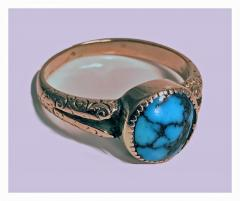 English Arts Crafts Gold Turquoise Ring Birmingham 1906 - 316580