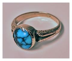 English Arts Crafts Gold Turquoise Ring Birmingham 1906 - 316581