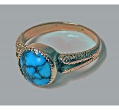 English Arts Crafts Gold Turquoise Ring Birmingham 1906 - 316583