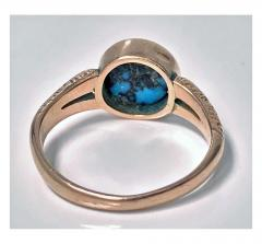 English Arts Crafts Gold Turquoise Ring Birmingham 1906 - 316584