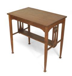 English Arts Crafts Oak Table Desk - 1428948
