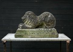 English Cast Stone Recumbent Lion on Stepped Plinth - 1970042