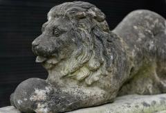 English Cast Stone Recumbent Lion on Stepped Plinth - 1970043