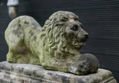 English Cast Stone Recumbent Lion on Stepped Plinth - 1970044