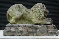 English Cast Stone Recumbent Lion on Stepped Plinth - 1970045