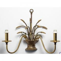 English Country Flower Basket Brass Two Light Sconces - 1545369