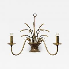 English Country Flower Basket Brass Two Light Sconces - 1545970