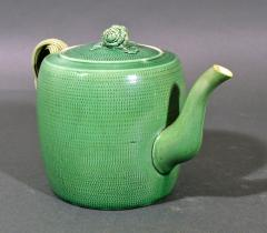 English Creamware Pottery Green Glazed Teapot Cover Swinton Yorkshire - 1617857