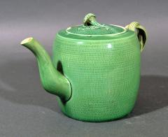 English Creamware Pottery Green Glazed Teapot Cover Swinton Yorkshire - 1617859