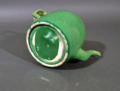 English Creamware Pottery Green Glazed Teapot Cover Swinton Yorkshire - 1617860