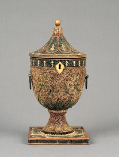 English Decorated Rolled Paper Tea Caddy in its Original Chinese Display Case - 1301901