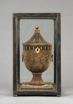 English Decorated Rolled Paper Tea Caddy in its Original Chinese Display Case - 1301904
