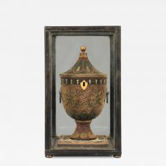 English Decorated Rolled Paper Tea Caddy in its Original Chinese Display Case - 1303941