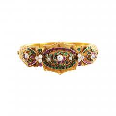 English Early 19th Century Gem Set Gold Bracelet - 192154