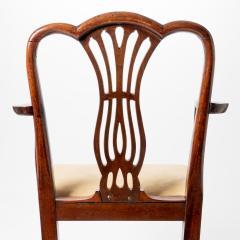 English Geo III carved mahogany arm chair - 1722956