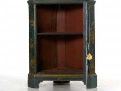 English George III Chippendale Blue Painted Chinoiserie Corner Cabinet - 1115772