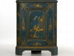 English George III Chippendale Blue Painted Chinoiserie Corner Cabinet - 1115780