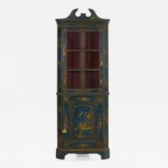 English George III Chippendale Blue Painted Chinoiserie Corner Cabinet - 1115994