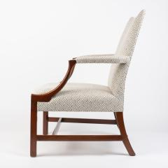 English George lll style upholstered mahogany arm chair - 1930790