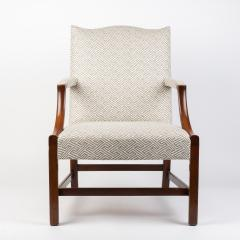 English George lll style upholstered mahogany arm chair - 1930791