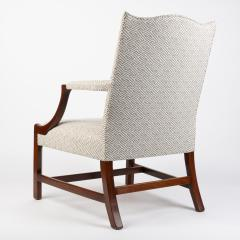 English George lll style upholstered mahogany arm chair - 1930793