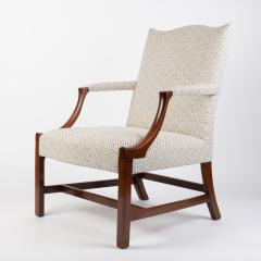 English George lll style upholstered mahogany arm chair - 1930794