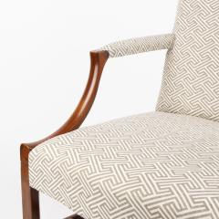 English George lll style upholstered mahogany arm chair - 1930796