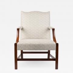 English George lll style upholstered mahogany arm chair - 1934921