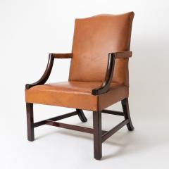 English Georgian mahogany upholstered lolling chair - 1729239