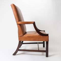 English Georgian mahogany upholstered lolling chair - 1729241