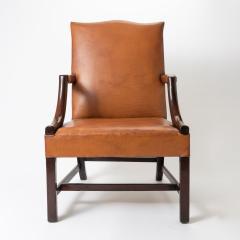 English Georgian mahogany upholstered lolling chair - 1729244