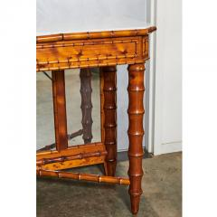 English Marble Top Faux Bamboo Mirror Backed Console - 1949685