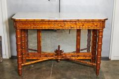English Marble Top Faux Bamboo Mirror Backed Console - 1949687