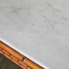 English Marble Top Faux Bamboo Mirror Backed Console - 1949690