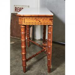 English Marble Top Faux Bamboo Mirror Backed Console - 1949691